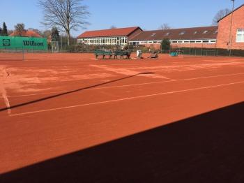 Arbeitseinsatz auf dem Tennisplatz